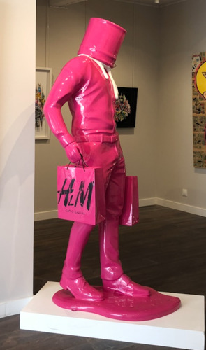 Shopping Man in Art - Fuchsia/Blanc