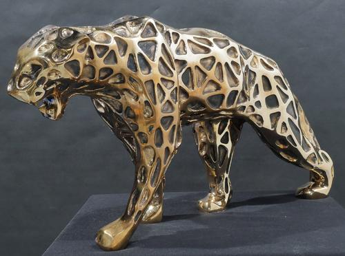 Wild panther dentelle bronze doré fond plat
