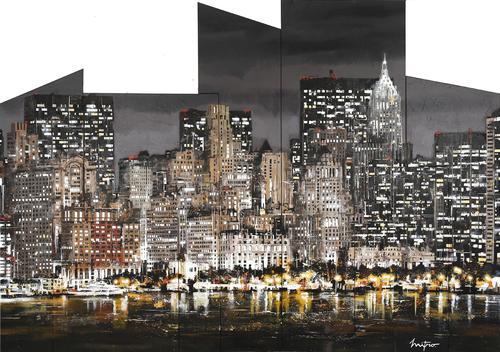 New York la nuit depuis le bateau